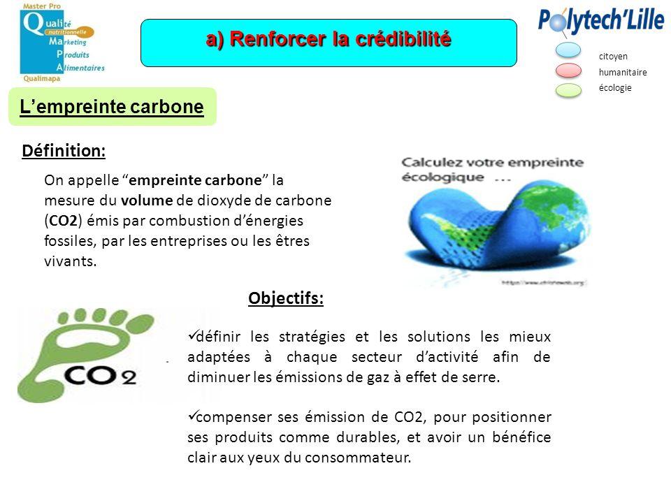 a) Renforcer la crédibilité On appelle empreinte carbone la mesure du volume de dioxyde de carbone (CO2) émis par combustion dénergies fossiles, par l