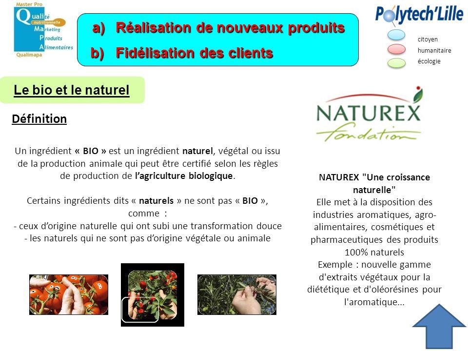 a)Réalisation de nouveaux produits b) Fidélisation des clients NATUREX