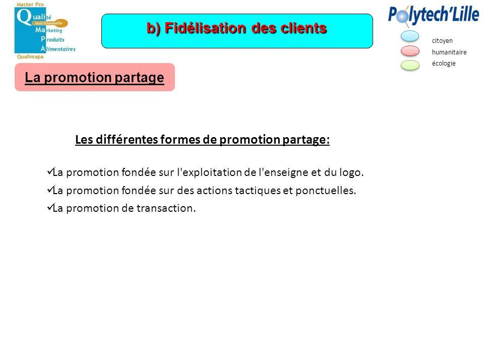 b) Fidélisation des clients La promotion partage Les différentes formes de promotion partage: La promotion fondée sur l'exploitation de l'enseigne et