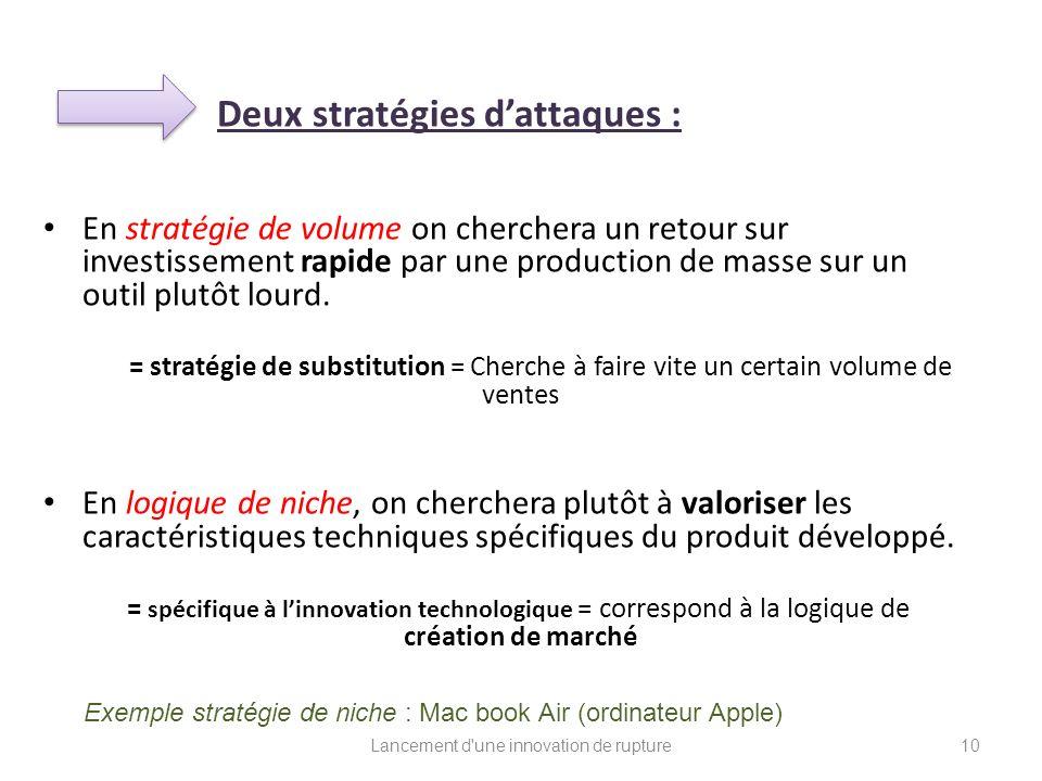 Deux stratégies dattaques : En stratégie de volume on cherchera un retour sur investissement rapide par une production de masse sur un outil plutôt lo