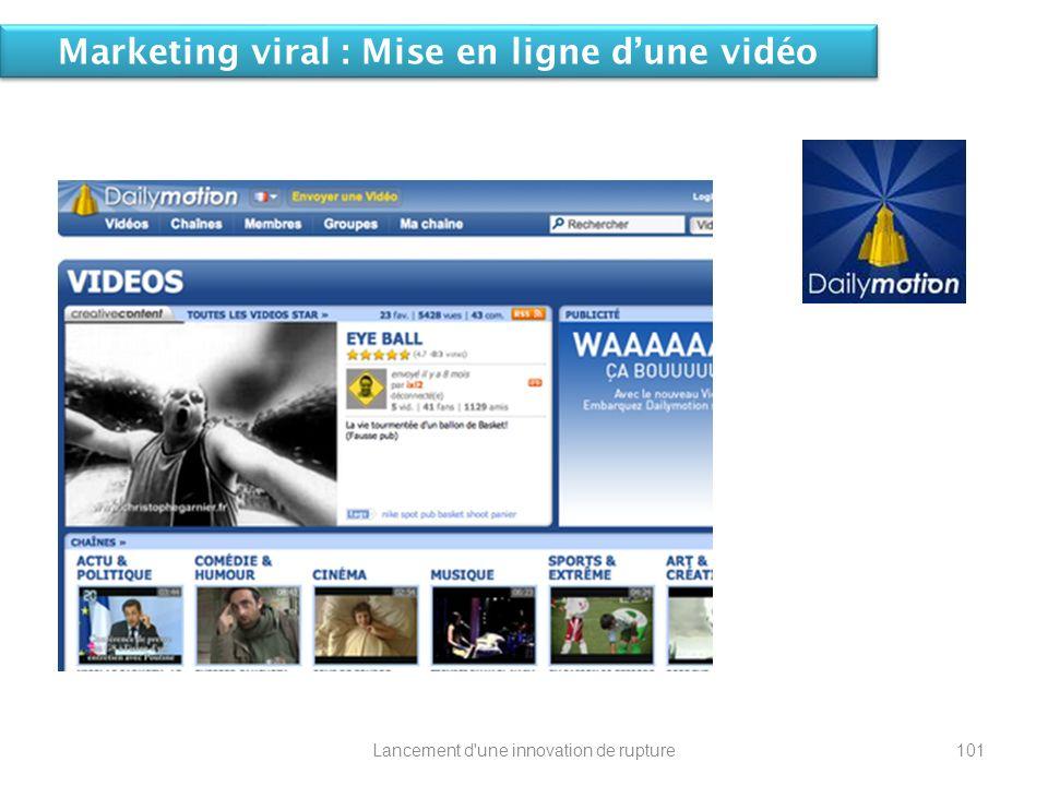 Marketing viral : Mise en ligne dune vidéo 101Lancement d'une innovation de rupture