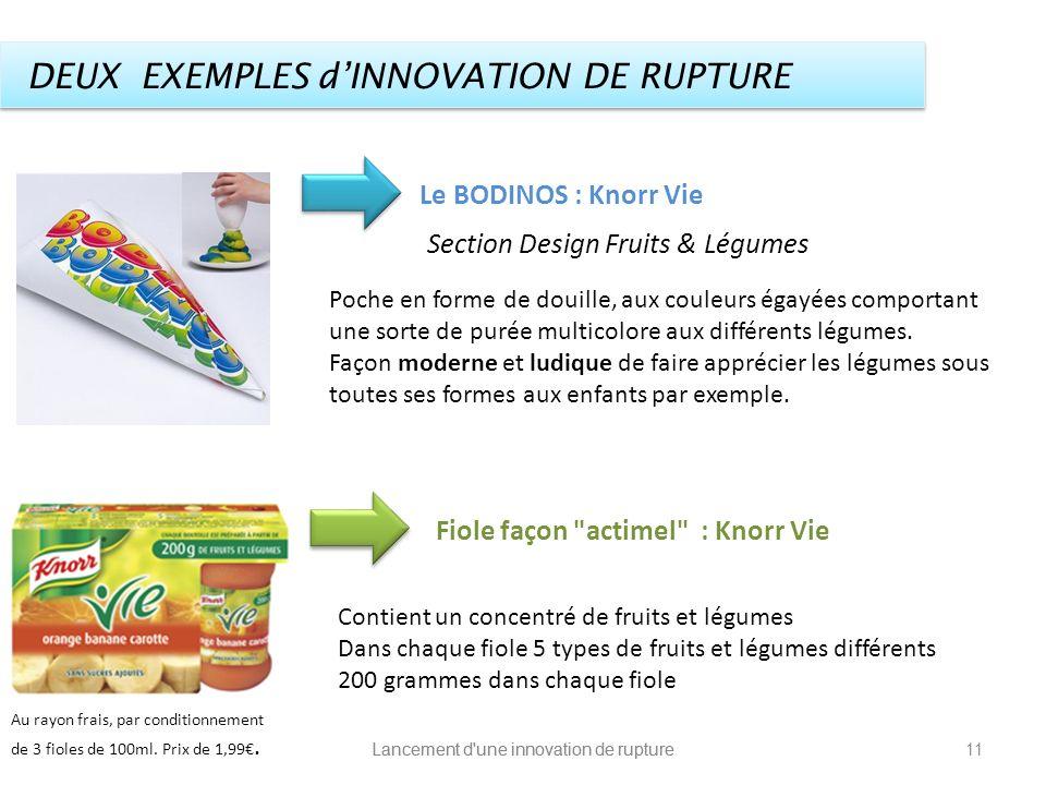 Lancement d'une innovation de rupture DEUX EXEMPLES dINNOVATION DE RUPTURE Le BODINOS : Knorr Vie Poche en forme de douille, aux couleurs égayées comp