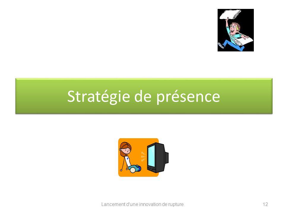 Lancement d'une innovation de rupture Stratégie de présence 12