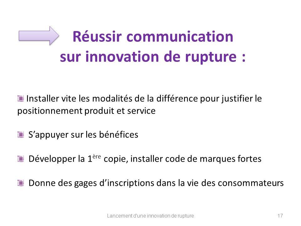 Réussir communication sur innovation de rupture : Installer vite les modalités de la différence pour justifier le positionnement produit et service Sa