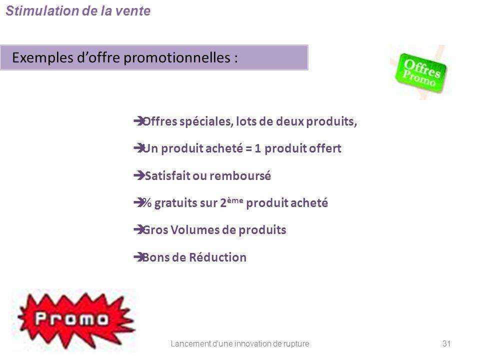 Lancement d'une innovation de rupture Stimulation de la vente Exemples doffre promotionnelles : Offres spéciales, lots de deux produits, Un produit ac