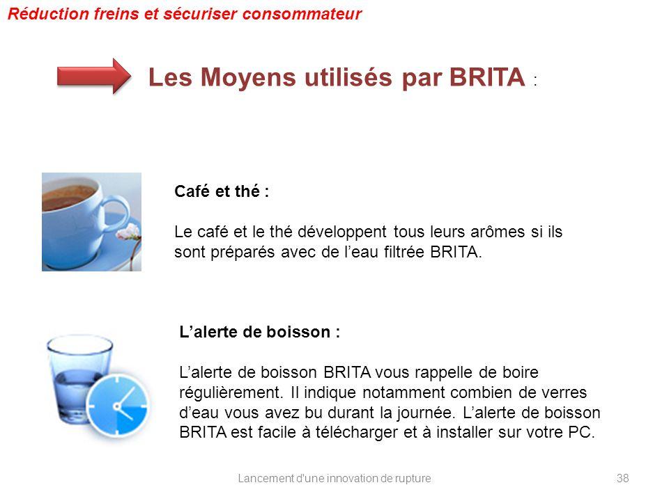 Lancement d'une innovation de rupture Réduction freins et sécuriser consommateur Les Moyens utilisés par BRITA : Café et thé : Le café et le thé dével