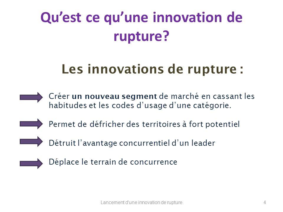 Quest ce quune innovation de rupture? Les innovations de rupture : Créer un nouveau segment de marché en cassant les habitudes et les codes dusage dun