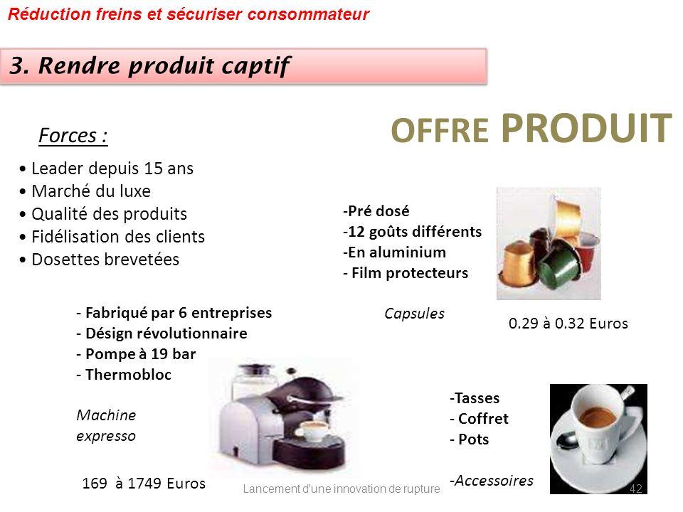 Forces : Leader depuis 15 ans Marché du luxe Qualité des produits Fidélisation des clients Dosettes brevetées OFFRE PRODUIT - Fabriqué par 6 entrepris