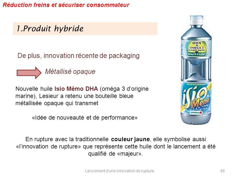 Lancement d'une innovation de rupture 1.Produit hybride Réduction freins et sécuriser consommateur De plus, innovation récente de packaging Métallisé