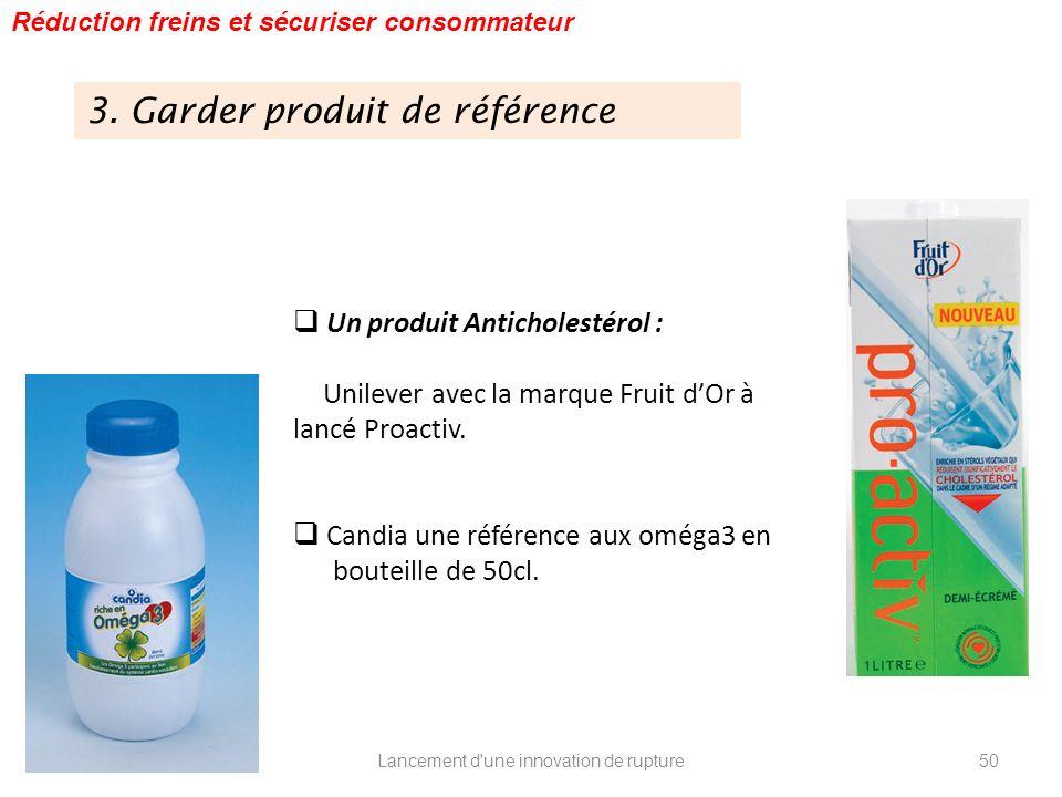 Lancement d'une innovation de rupture Réduction freins et sécuriser consommateur Un produit Anticholestérol : Unilever avec la marque Fruit dOr à lanc