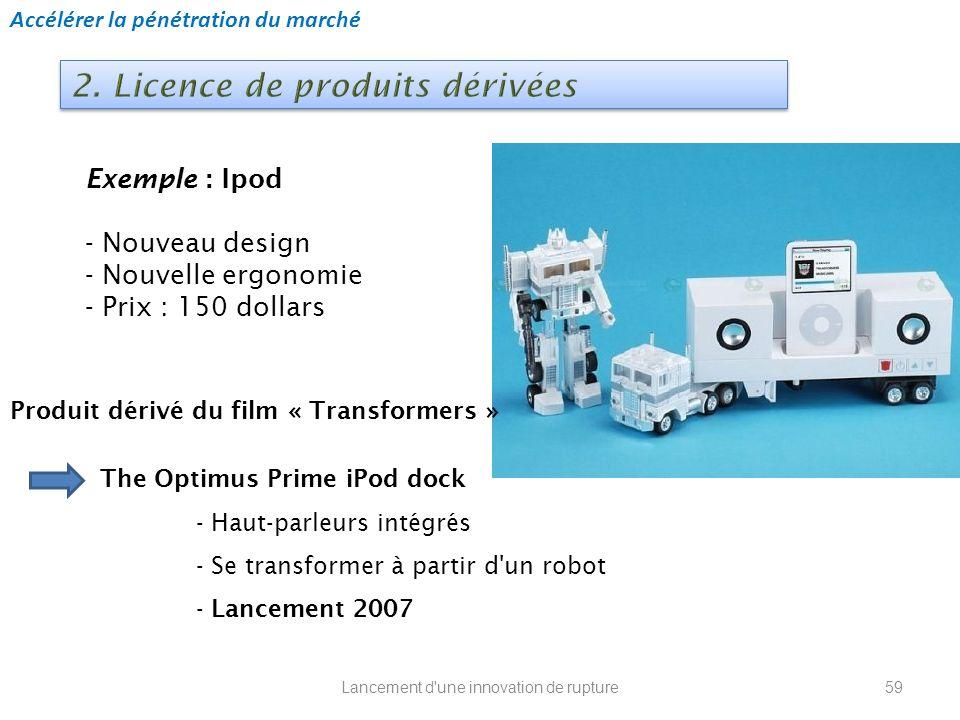 Lancement d'une innovation de rupture Exemple : Ipod - Nouveau design - Nouvelle ergonomie - Prix : 150 dollars Accélérer la pénétration du marché The