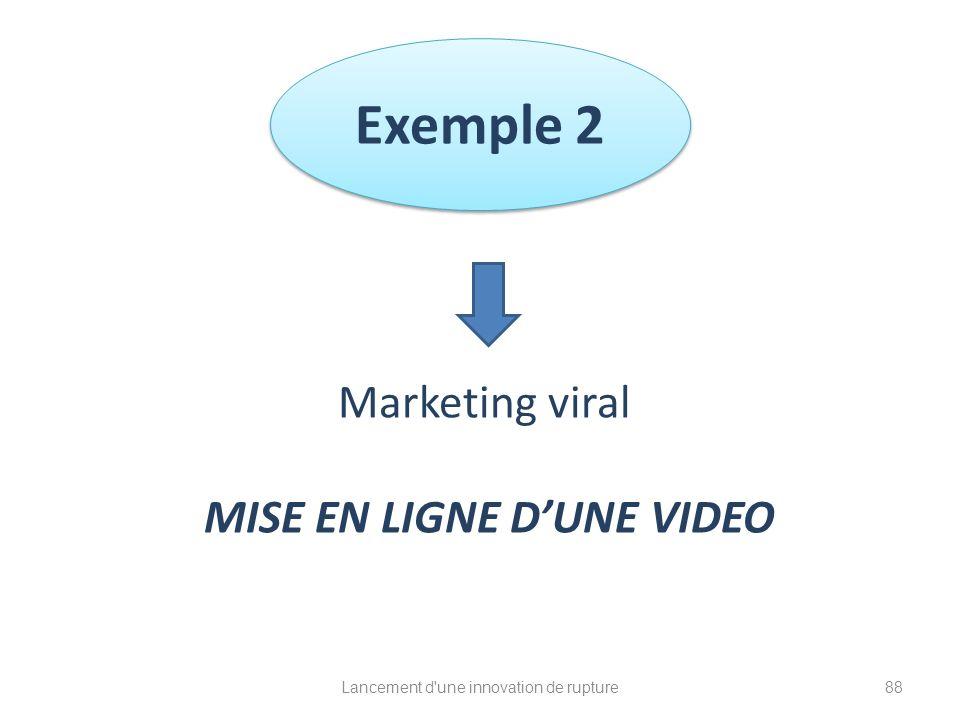 Exemple 2 Lancement d'une innovation de rupture Marketing viral MISE EN LIGNE DUNE VIDEO 88