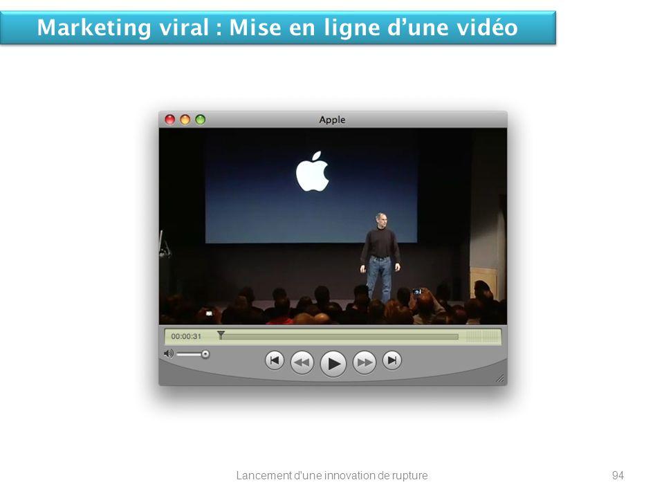 Marketing viral : Mise en ligne dune vidéo 94Lancement d'une innovation de rupture