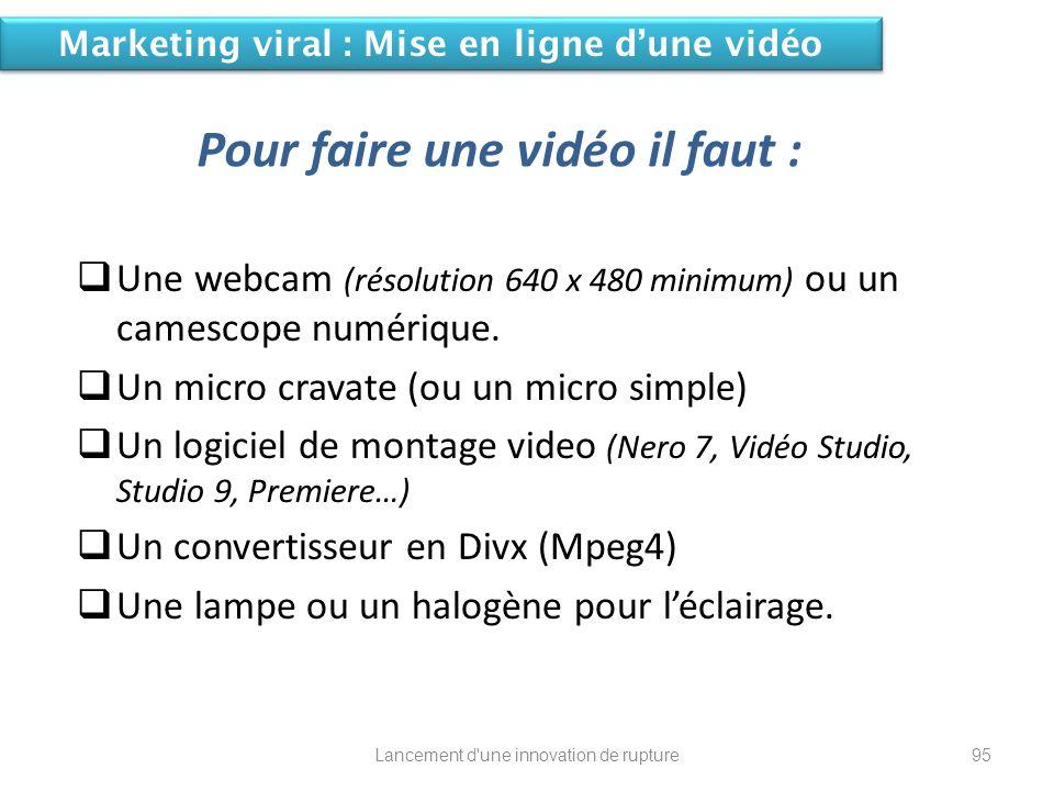 Pour faire une vidéo il faut : Une webcam (résolution 640 x 480 minimum) ou un camescope numérique. Un micro cravate (ou un micro simple) Un logiciel