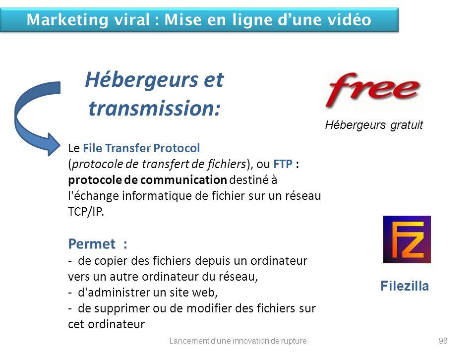 Lancement d'une innovation de rupture Le File Transfer Protocol (protocole de transfert de fichiers), ou FTP : protocole de communication destiné à l'