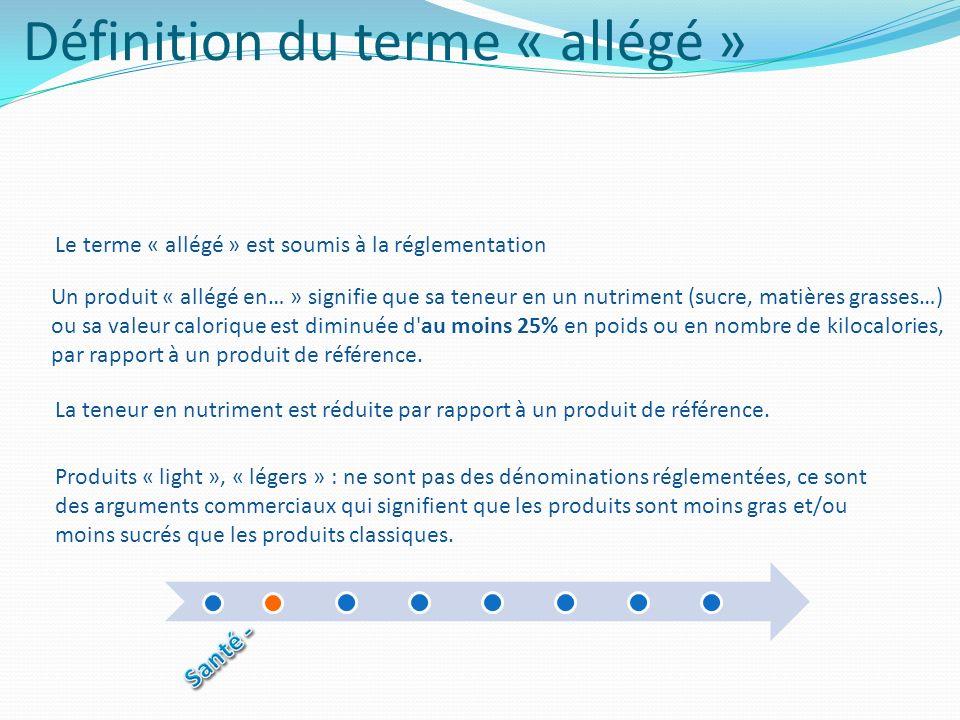 Définition du terme « allégé » Le terme « allégé » est soumis à la réglementation Un produit « allégé en… » signifie que sa teneur en un nutriment (su