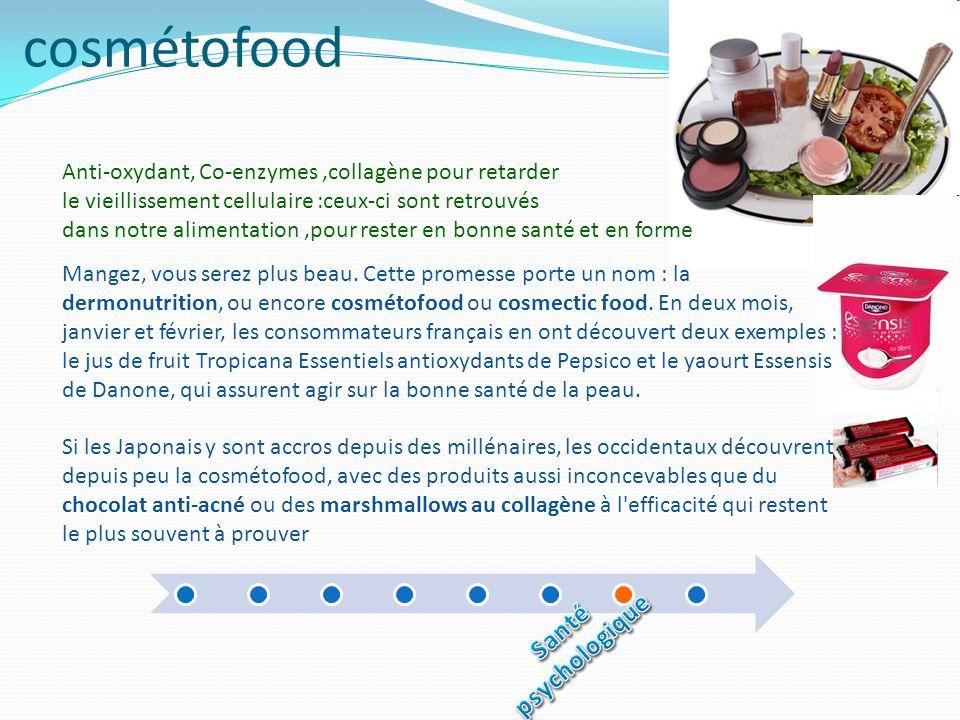 cosmétofood Anti-oxydant, Co-enzymes,collagène pour retarder le vieillissement cellulaire :ceux-ci sont retrouvés dans notre alimentation,pour rester