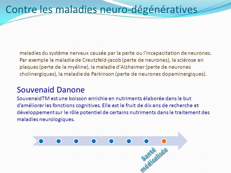 Contre les maladies neuro-dégénératives Souvenaid Danone SouvenaidTM est une boisson enrichie en nutriments élaborée dans le but daméliorer les foncti