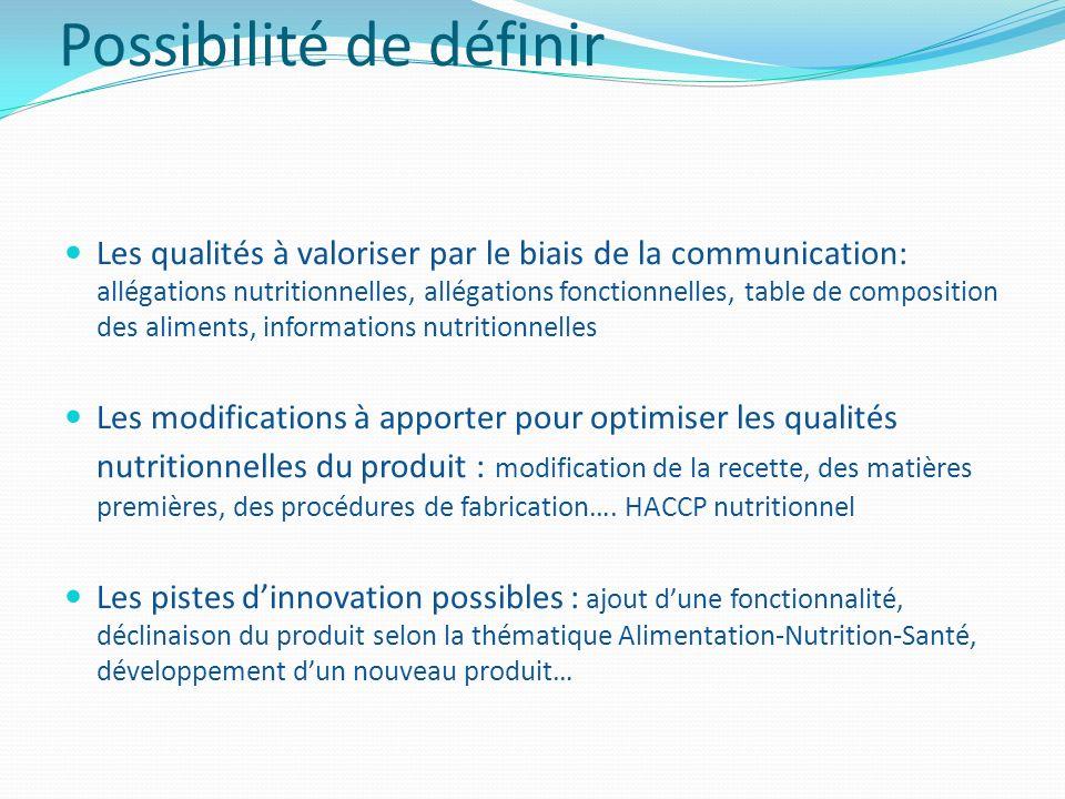 Possibilité de définir Les qualités à valoriser par le biais de la communication: allégations nutritionnelles, allégations fonctionnelles, table de co