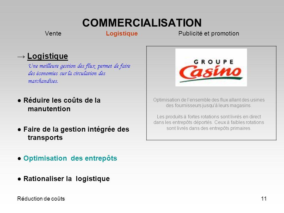 Réduction de coûts11 COMMERCIALISATION Vente Logistique Publicité et promotion Logistique Une meilleure gestion des flux permet de faire des économies