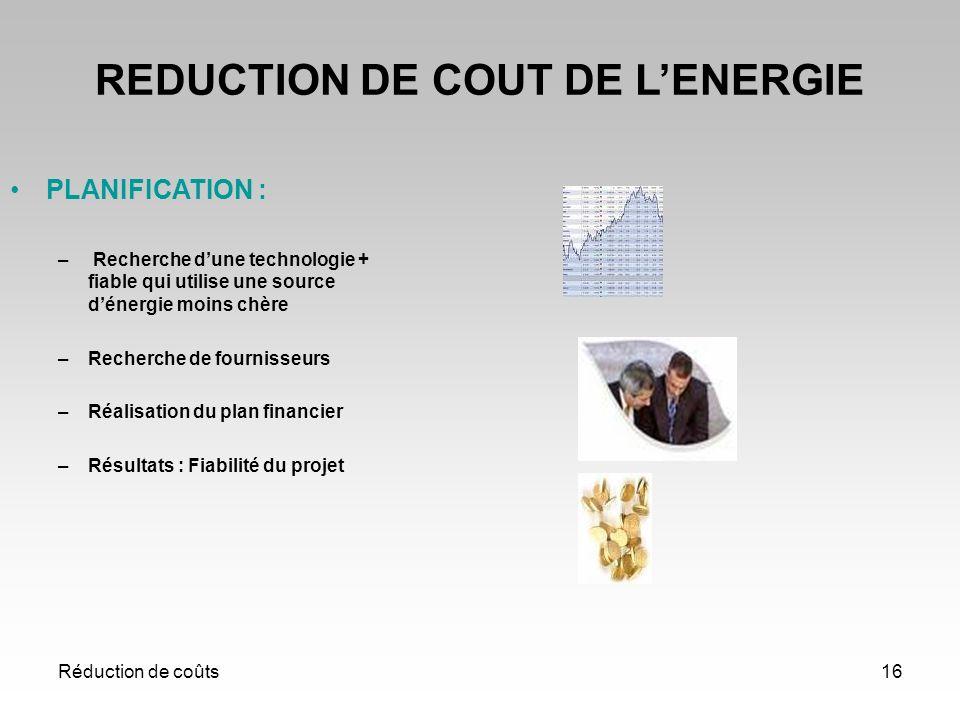 Réduction de coûts16 REDUCTION DE COUT DE LENERGIE PLANIFICATION : – Recherche dune technologie + fiable qui utilise une source dénergie moins chère –