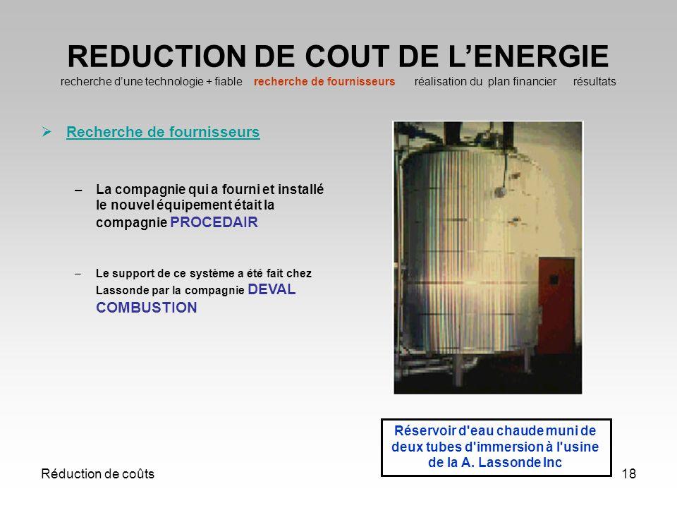 Réduction de coûts18 REDUCTION DE COUT DE LENERGIE recherche dune technologie + fiable recherche de fournisseurs réalisation du plan financier résulta