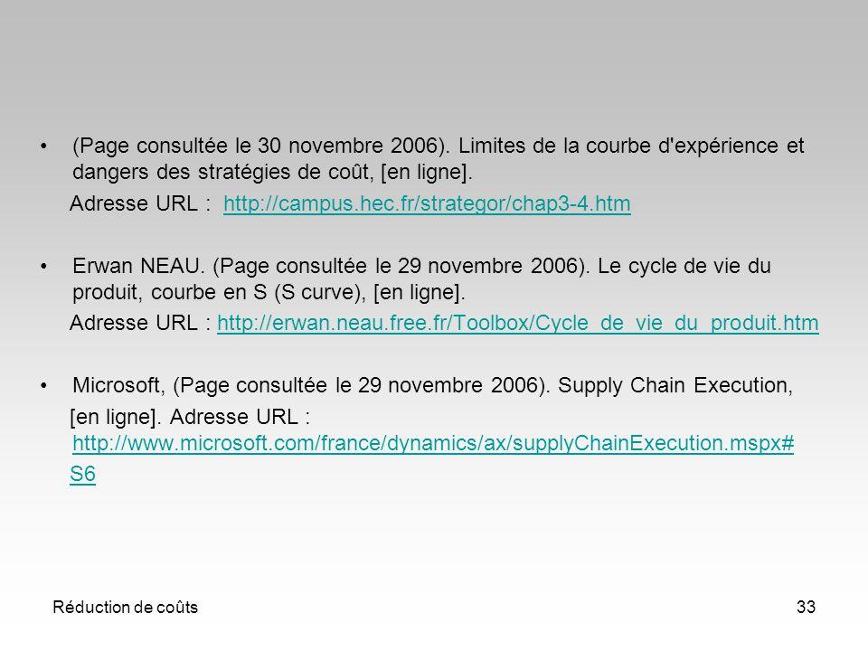 Réduction de coûts33 (Page consultée le 30 novembre 2006). Limites de la courbe d'expérience et dangers des stratégies de coût, [en ligne]. Adresse UR