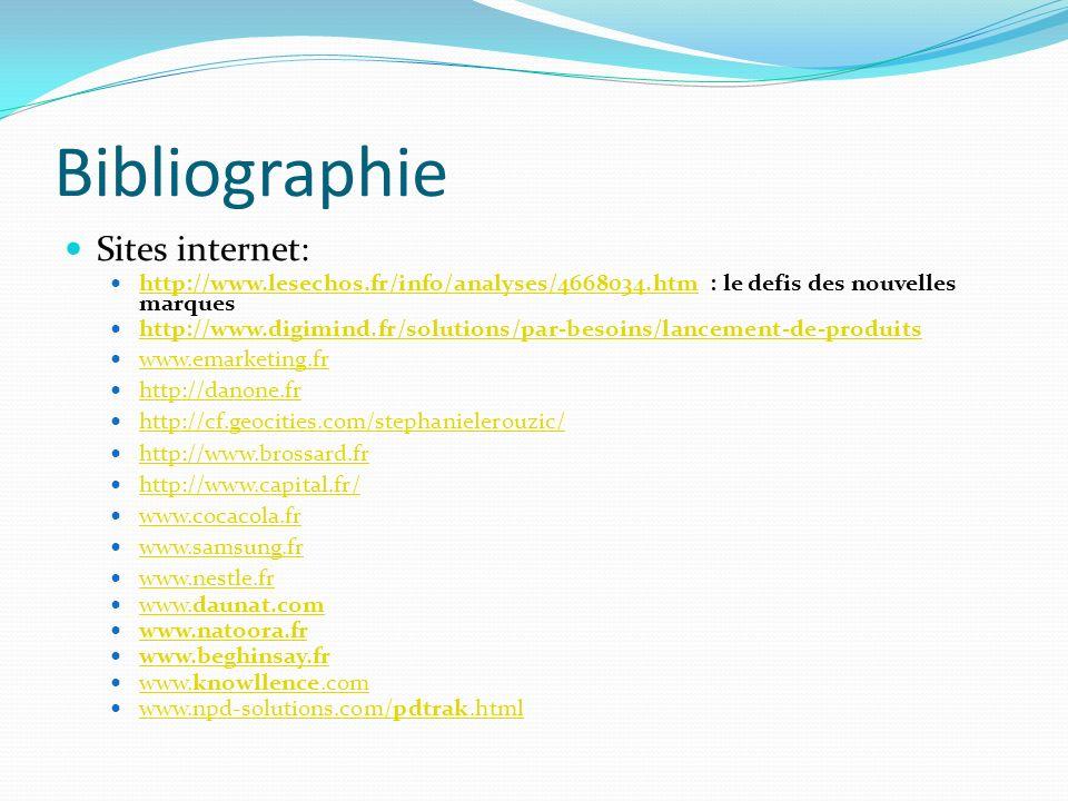 Bibliographie Sites internet: http://www.lesechos.fr/info/analyses/4668034.htm : le defis des nouvelles marques http://www.lesechos.fr/info/analyses/4668034.htm http://www.digimind.fr/solutions/par-besoins/lancement-de-produits www.emarketing.fr http://danone.fr http://cf.geocities.com/stephanielerouzic/ http://www.brossard.fr http://www.capital.fr/ www.cocacola.fr www.samsung.fr www.nestle.fr www.daunat.com www.daunat.com www.natoora.fr www.beghinsay.fr www.knowllence.com www.knowllence.com www.npd-solutions.com/pdtrak.html www.npd-solutions.com/pdtrak.html