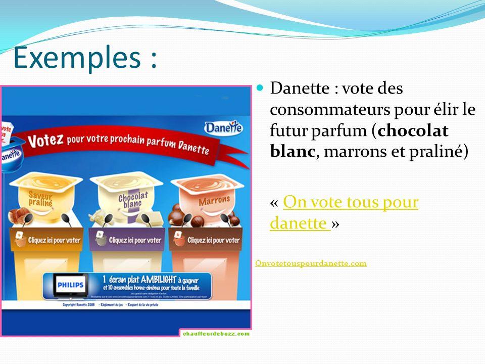 Exemples : Danette : vote des consommateurs pour élir le futur parfum (chocolat blanc, marrons et praliné) « On vote tous pour danette »On vote tous pour danette Onvotetouspourdanette.com