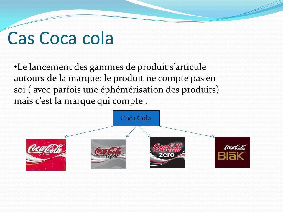 Cas Coca cola Coca Cola Le lancement des gammes de produit sarticule autours de la marque: le produit ne compte pas en soi ( avec parfois une éphémérisation des produits) mais cest la marque qui compte.