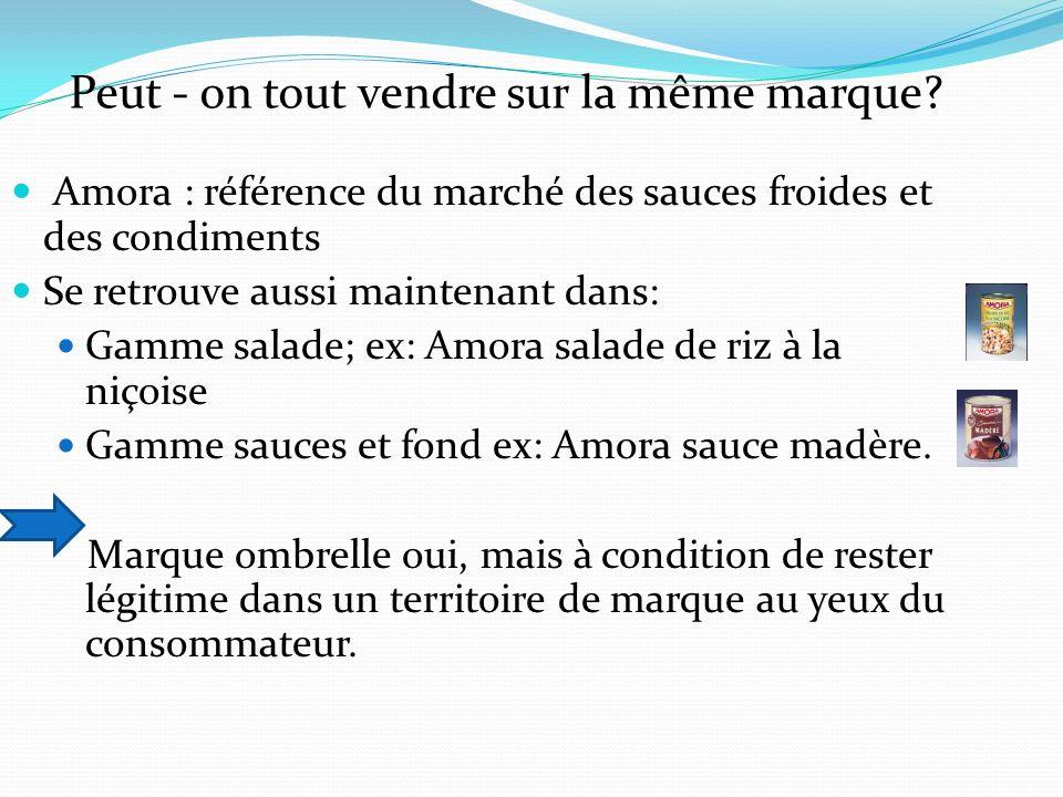 Amora : référence du marché des sauces froides et des condiments Se retrouve aussi maintenant dans: Gamme salade; ex: Amora salade de riz à la niçoise Gamme sauces et fond ex: Amora sauce madère.
