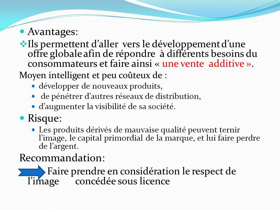 Avantages: Ils permettent daller vers le développement dune offre globale afin de répondre à différents besoins du consommateurs et faire ainsi « une vente additive ».
