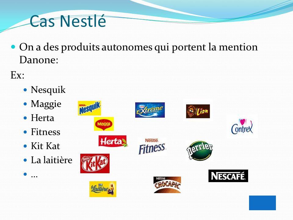 Cas Nestlé On a des produits autonomes qui portent la mention Danone: Ex: Nesquik Maggie Herta Fitness Kit Kat La laitière …