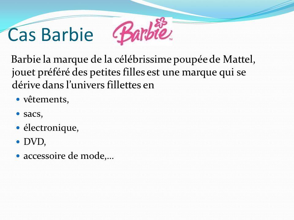 Cas Barbie Barbie la marque de la célébrissime poupée de Mattel, jouet préféré des petites filles est une marque qui se dérive dans lunivers fillettes en vêtements, sacs, électronique, DVD, accessoire de mode,…