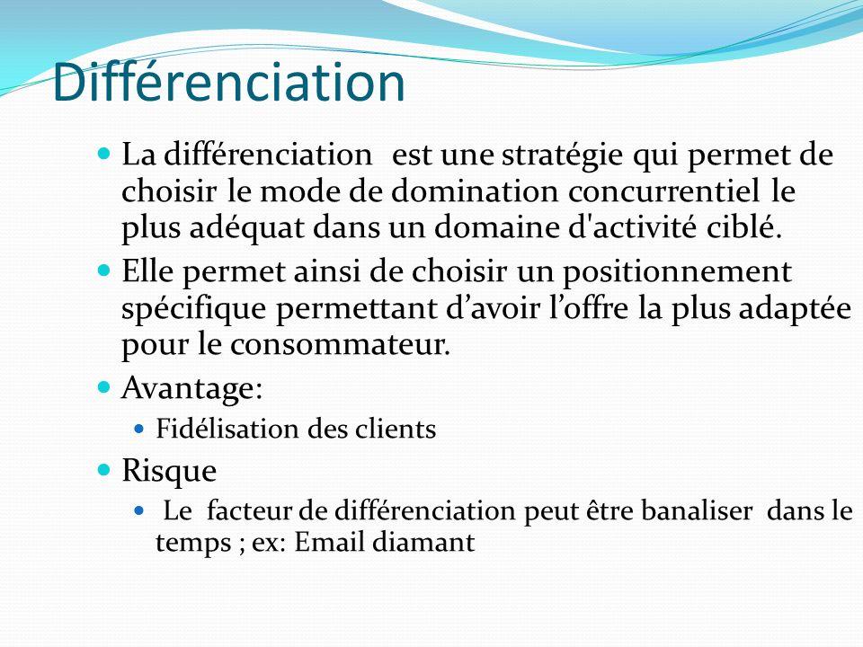 Différenciation La différenciation est une stratégie qui permet de choisir le mode de domination concurrentiel le plus adéquat dans un domaine d activité ciblé.