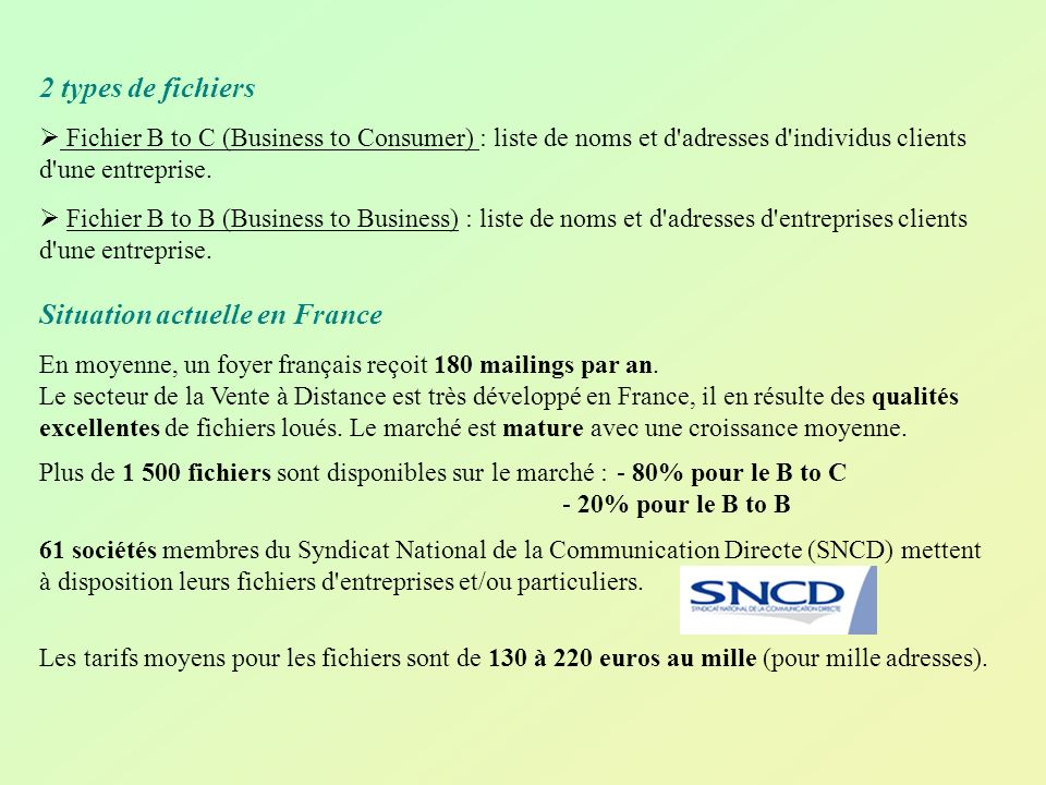 2 types de fichiers Fichier B to C (Business to Consumer) : liste de noms et d'adresses d'individus clients d'une entreprise. Fichier B to B (Business