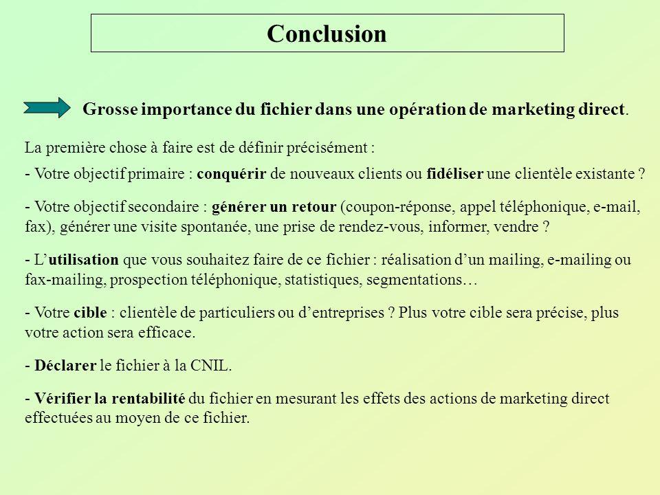 Conclusion Grosse importance du fichier dans une opération de marketing direct. La première chose à faire est de définir précisément : - Votre objecti