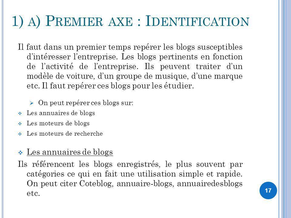 17 1) A ) P REMIER AXE : I DENTIFICATION Il faut dans un premier temps repérer les blogs susceptibles dintéresser lentreprise. Les blogs pertinents en