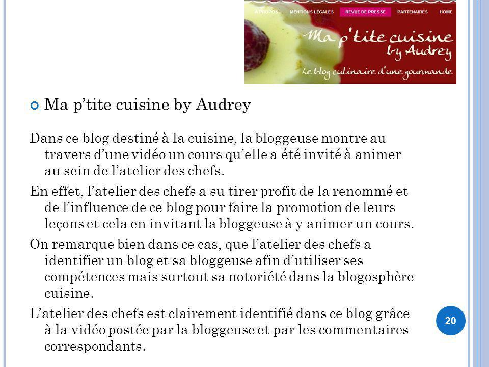 Ma ptite cuisine by Audrey Dans ce blog destiné à la cuisine, la bloggeuse montre au travers dune vidéo un cours quelle a été invité à animer au sein