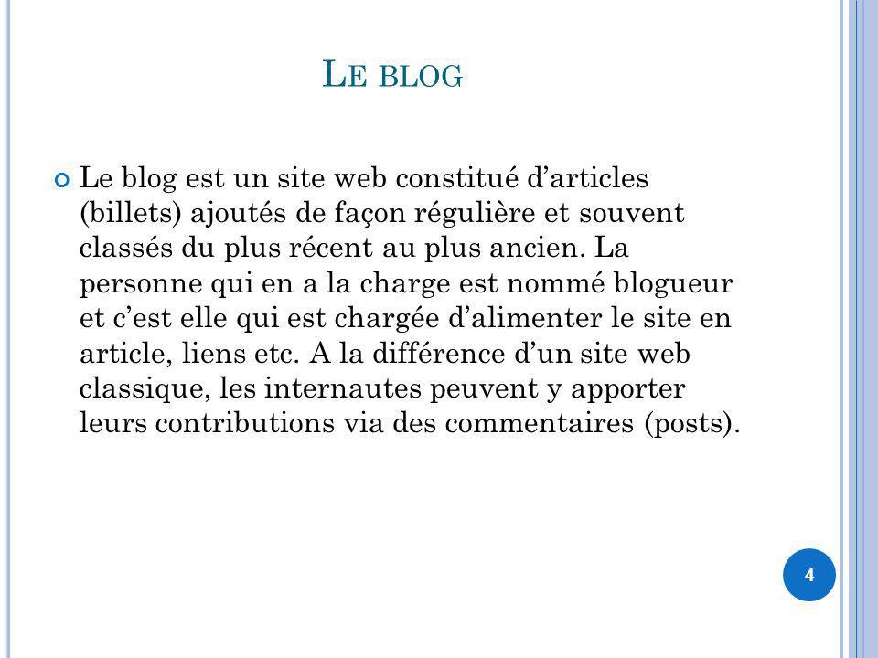 4 L E BLOG Le blog est un site web constitué darticles (billets) ajoutés de façon régulière et souvent classés du plus récent au plus ancien. La perso