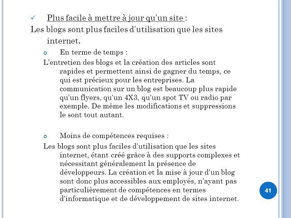 41 Plus facile à mettre à jour quun site : Les blogs sont plus faciles dutilisation que les sites internet. En terme de temps : Lentretien des blogs e