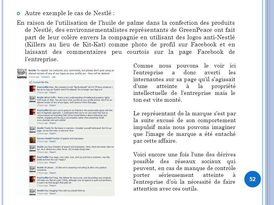 Autre exemple le cas de Nestlé : En raison de lutilisation de lhuile de palme dans la confection des produits de Nestlé, des environnementalistes repr