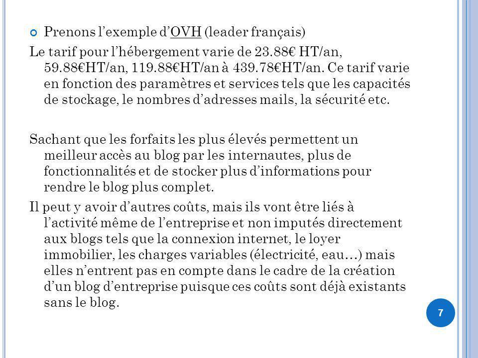 Prenons lexemple dOVH (leader français) Le tarif pour lhébergement varie de 23.88 HT/an, 59.88HT/an, 119.88HT/an à 439.78HT/an. Ce tarif varie en fonc