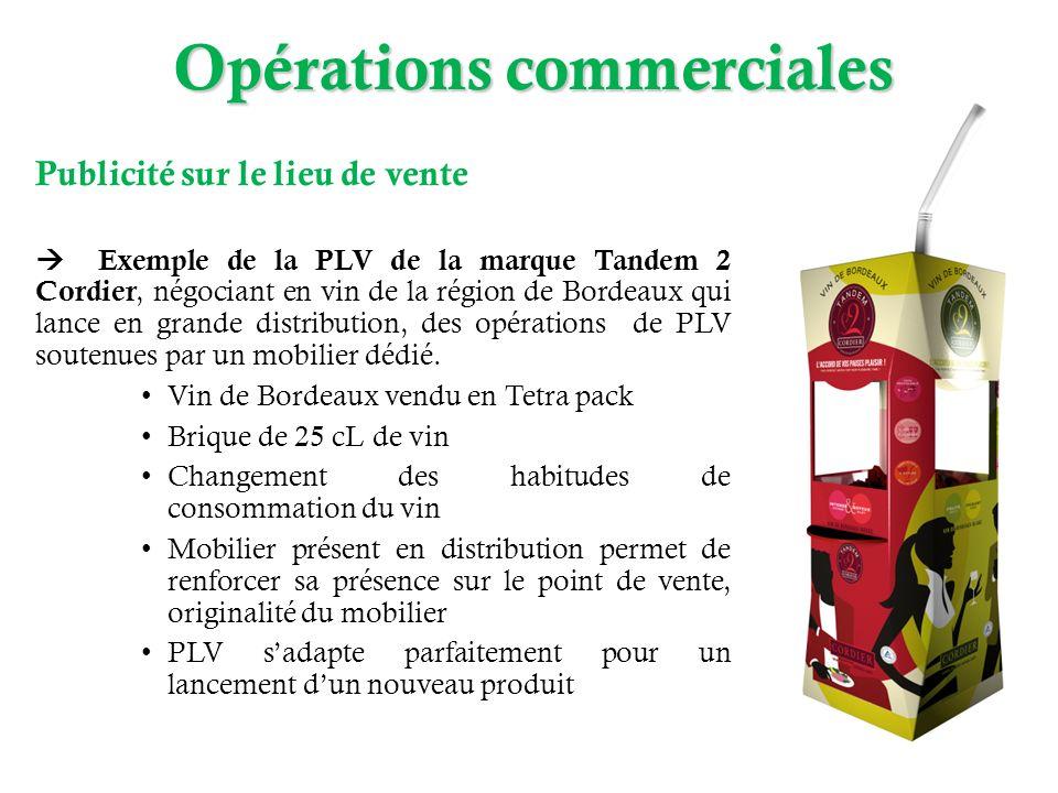 Publicité sur le lieu de vente Exemple de la PLV de la marque Tandem 2 Cordier, négociant en vin de la région de Bordeaux qui lance en grande distribu