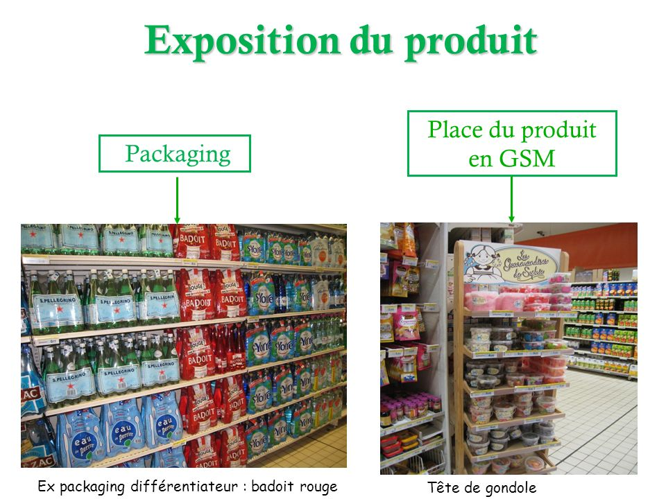Packaging Place du produit en GSM Ex packaging différentiateur : badoit rouge Tête de gondole Exposition du produit