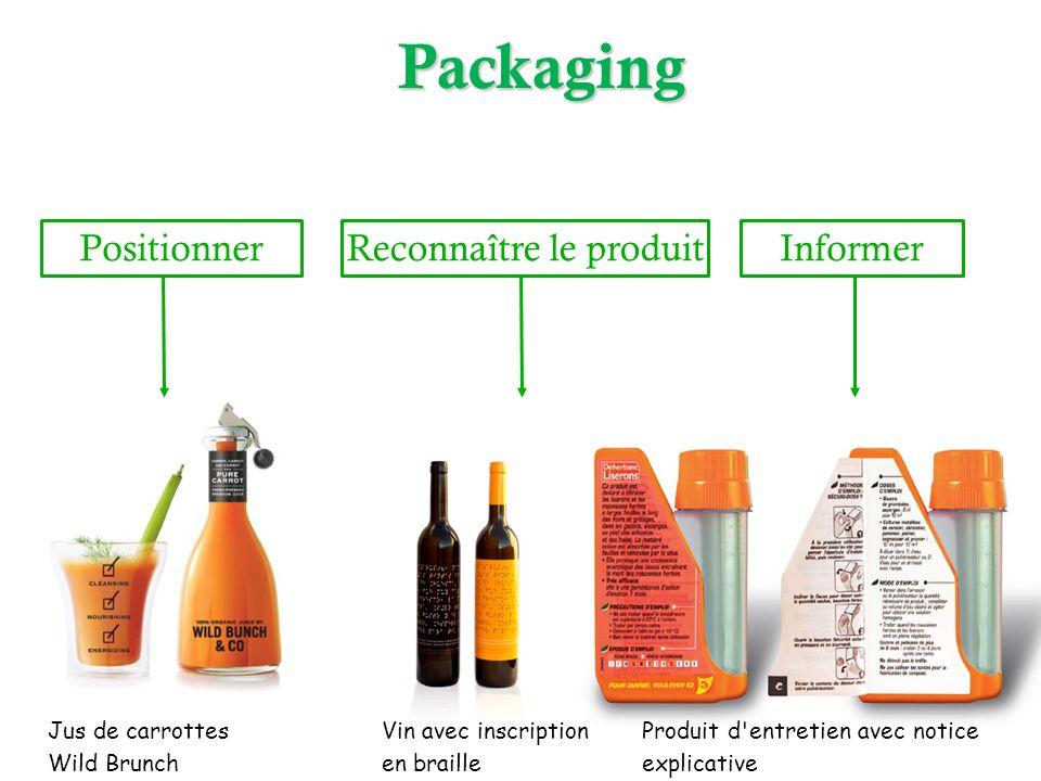 InformerReconnaître le produit Jus de carrottes Wild Brunch Vin avec inscription en braille Produit d'entretien avec notice explicativePackaging Posit