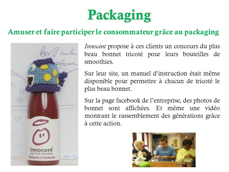 Packaging Amuser et faire participer le consommateur grâce au packaging Innocent propose à ces clients un concours du plus beau bonnet tricoté pour le