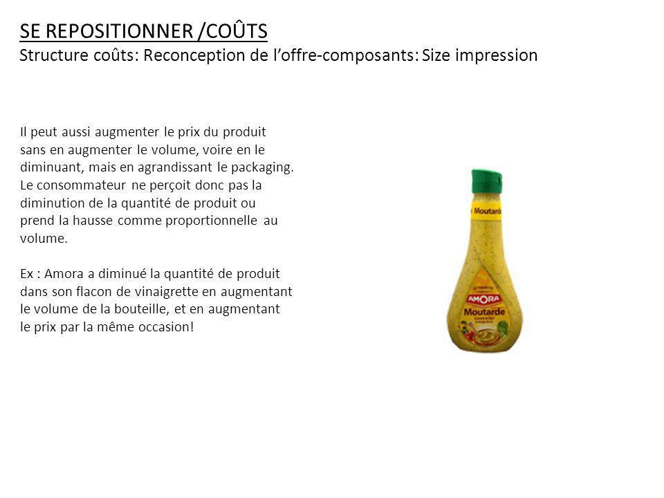 SE REPOSITIONNER /COÛTS Structure coûts: Reconception de loffre-composants: Size impression Il peut aussi augmenter le prix du produit sans en augmenter le volume, voire en le diminuant, mais en agrandissant le packaging.