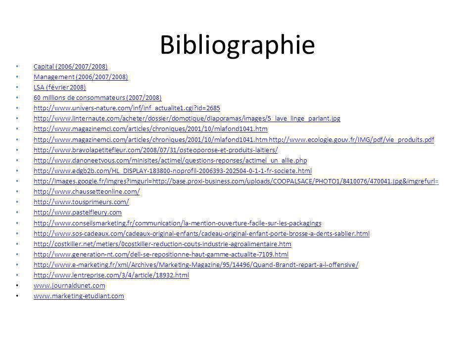 Bibliographie Capital (2006/2007/2008) Capital (2006/2007/2008) Management (2006/2007/2008) LSA (février 2008) 60 millions de consommateurs (2007/2008) http://www.univers-nature.com/inf/inf_actualite1.cgi?id=2685 http://www.linternaute.com/acheter/dossier/domotique/diaporamas/images/5_lave_linge_parlant.jpg http://www.magazinemci.com/articles/chroniques/2001/10/mlafond1041.htm http://www.magazinemci.com/articles/chroniques/2001/10/mlafond1041.htm http://www.ecologie.gouv.fr/IMG/pdf/vie_produits.pdf http://www.bravolapetitefleur.com/2008/07/31/osteoporose-et-produits-laitiers/ http://www.danoneetvous.com/minisites/actimel/questions-reponses/actimel_un_allie.php http://www.edgb2b.com/HL_DISPLAY-183800-noprofil-2006393-202504-0-1-1-fr-societe.html http://images.google.fr/imgres?imgurl=http://base.proxi-business.com/uploads/COOPALSACE/PHOTO1/8410076/470041.jpg&imgrefurl= http://images.google.fr/imgres?imgurl=http://base.proxi-business.com/uploads/COOPALSACE/PHOTO1/8410076/470041.jpg&imgrefurl http://www.chaussetteonline.com/ http://www.tousprimeurs.com/ http://www.pastelfleury.com http://www.conseilsmarketing.fr/communication/la-mention-ouverture-facile-sur-les-packagings http://www.sos-cadeaux.com/cadeaux-original-enfants/cadeau-original-enfant-porte-brosse-a-dents-sablier.html http://costkiller.net/metiers/0costkiller-reduction-couts-industrie-agroalimentaire.htm http://www.generation-nt.com/dell-se-repositionne-haut-gamme-actualite-7109.html http://www.e-marketing.fr/xml/Archives/Marketing-Magazine/95/14496/Quand-Brandt-repart-a-l-offensive/ http://www.lentreprise.com/3/4/article/18932.html www.journaldunet.com www.marketing-etudiant.com