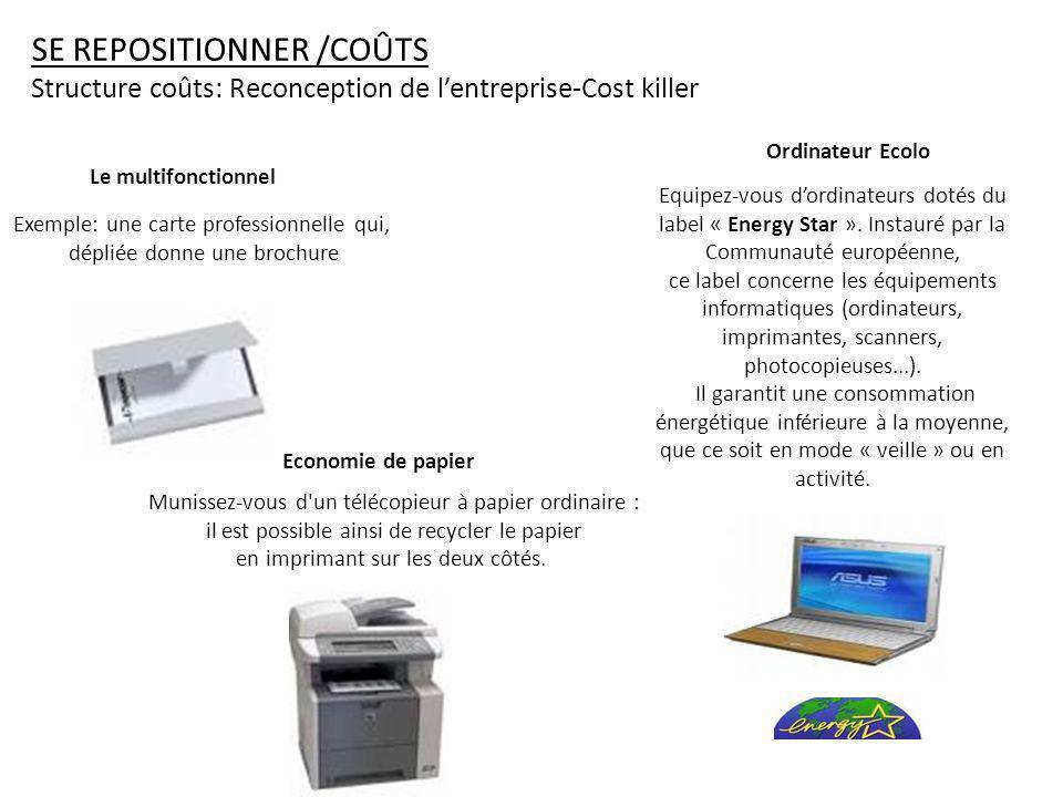 SE REPOSITIONNER /COÛTS Structure coûts: Reconception de lentreprise-Cost killer Equipez-vous dordinateurs dotés du label « Energy Star ».